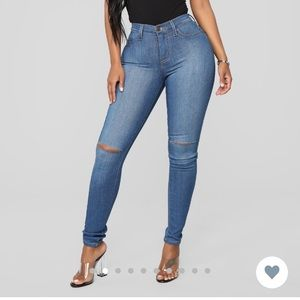 Fashion Nova Canopy Jeans Medium Blue Wash